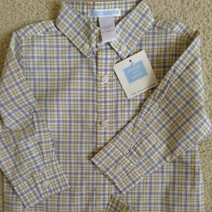 NEW janie and jack plaid dress shirt, 12-18m